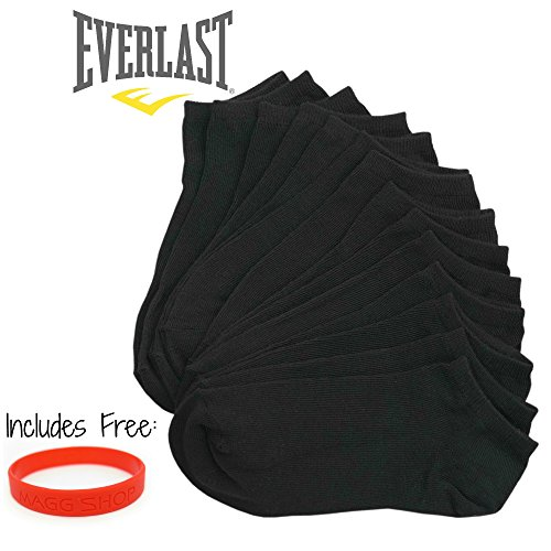 Everlast Womens No Show Athletic Ankle Socks (Pack of 7,14 or 21 pairs) (14-pack, C- Black)