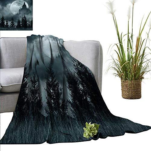 homehot Halloween Super Soft BlanketsMagic Castle Silhouette Over Full Moon Night Fantasy Landscape Scary Forest All Season Premium Bed Blanket 70