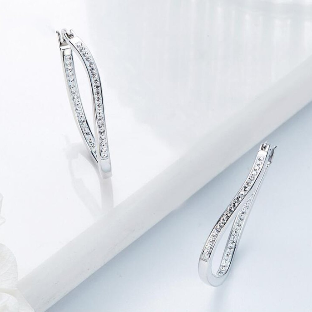 Hoop Earrings Rhinestone Girls Earrings Cubic Zirconia Sterling Silver Hoop Earrings For Women
