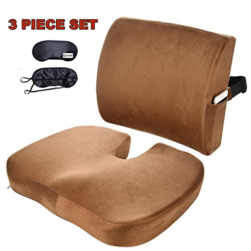 Seat-Cushion-Coccyx-Orthopedic-Memory-Foam-and-Lumbar-Support-Pillow-for-Office-Chair-and-Car-Chair-Cushion-for-Low-Back-Support-Tailbone-Pain-Sciatica-Relief-Qutool