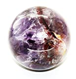 Healing Crystals India 2″ -2.3″ Chevron Amethyst Sphere Natural Purple Crystal Rare Quartz Polished Ball Mineral Stone – India