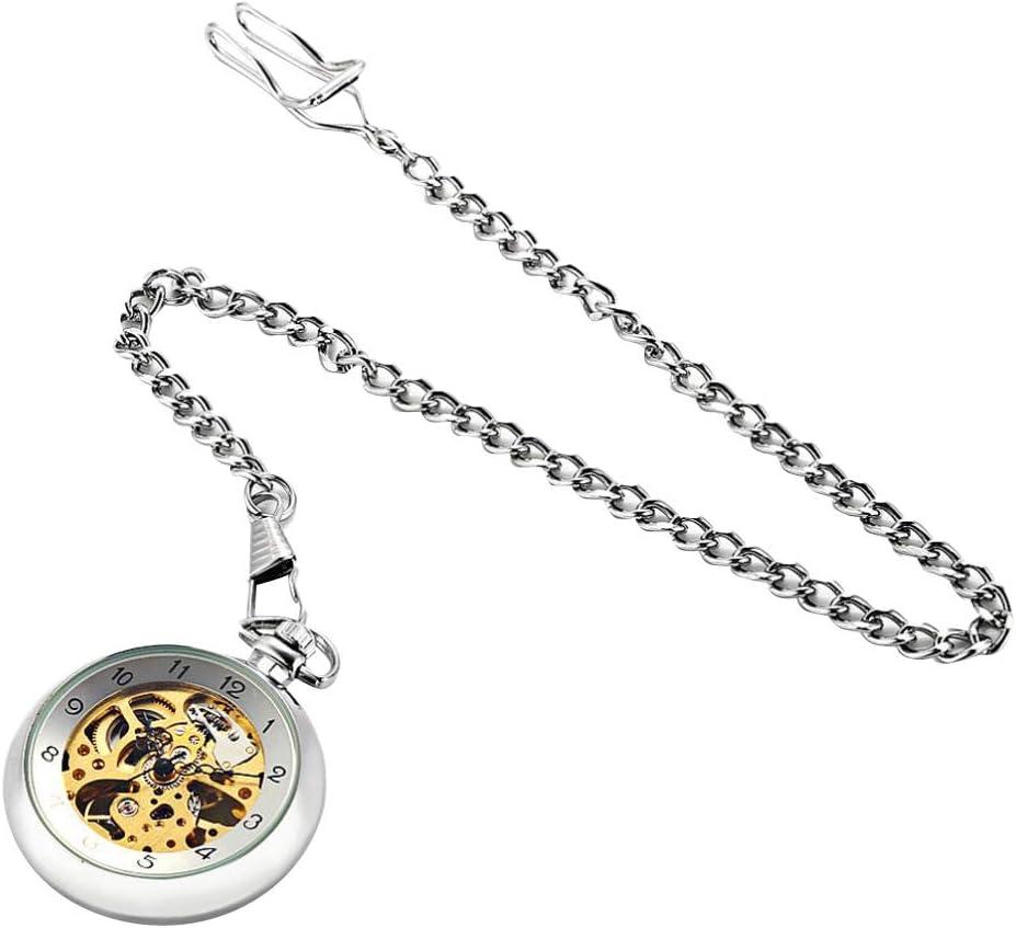 Baoblaze Antiguo Reloj Analógico con Correa Esqueleto Reloj Bolsillo Único Collar Colgante para Hombre