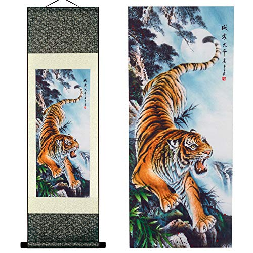(UNIQUELOVER Asian Silk Scroll & Home Decorate Tiger Picture Scroll & Wall Scroll Hanging Artwork Painting)