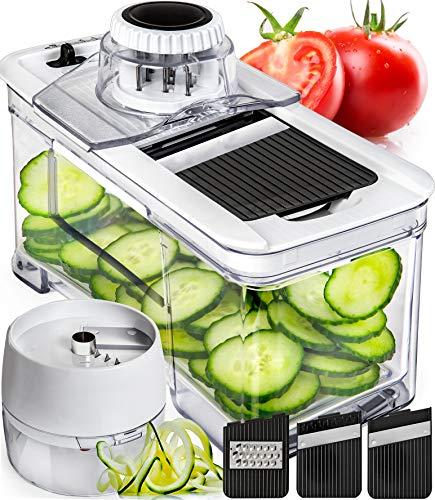 Adjustable Mandoline Slicer with Spiralizer Vegetable Slicer - Veggie Slicer...