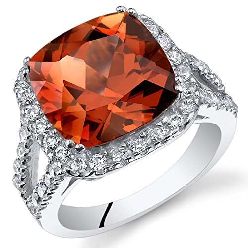 7.50 Carats Cushion Cut Created Padparadscha Sapphire Ring Sterling Silver Sizes 5 to 9
