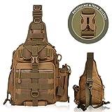 BLISSWILL Fishing Backpack Outdoor Tackle Bag Water-Resistant Fishing Bag Single Shoulder Bag Crossbody Fishing Gear Bag Hunting Backpack (Khaki)
