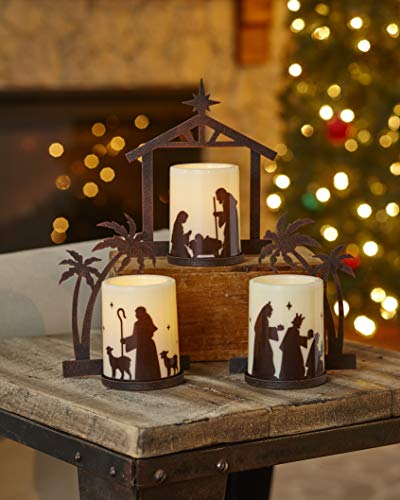 The Lakeside Collection Holiday Nativity Candleholders with LED Candle Bulbs - Set of 3 (Home Store Lakeside)
