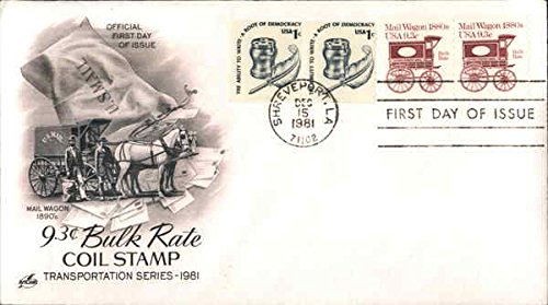 Wagon Coil (Mail Wagon 1890's 9.3c Bulk Rate Coil Stamp Transportation Series - 1981 Original First Day Cover)