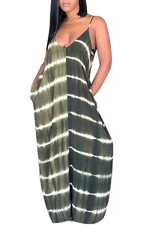7369842f5f2 Saodimallsu Womens Striped Spaghetti Straps V Neck Summer Loose Maxi Dresses  with Pockets
