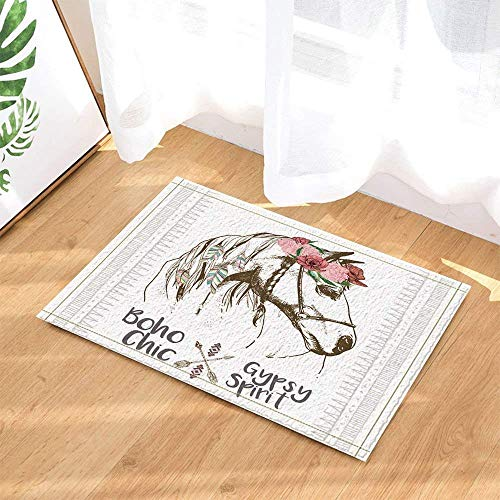 Sketch Pink Red Flowers Colorful Feathers White Horse on White Background Bathroom mat Door mat Anti-Slip Floor Indoor Entrance mat Children 15.7x23.6IN Bathroom Accessories