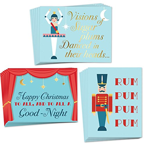 (48 Nutcracker Greeting Cards, 3 Assorted Designs for Merry Christmas & Happy Holiday Greetings, Set of Envelopes Included, Elegant Mixed Boxed Notecard Box Variety Pack, Excellent Value by Digibuddha)