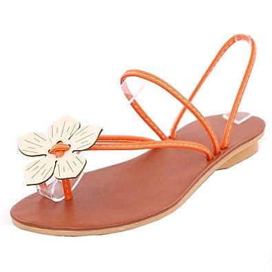 eee1568a06ac FANIMILA Women Sweet Clip Toe Slingback Flat Sandals with Flower Girls  School Flip Flop Sandals (