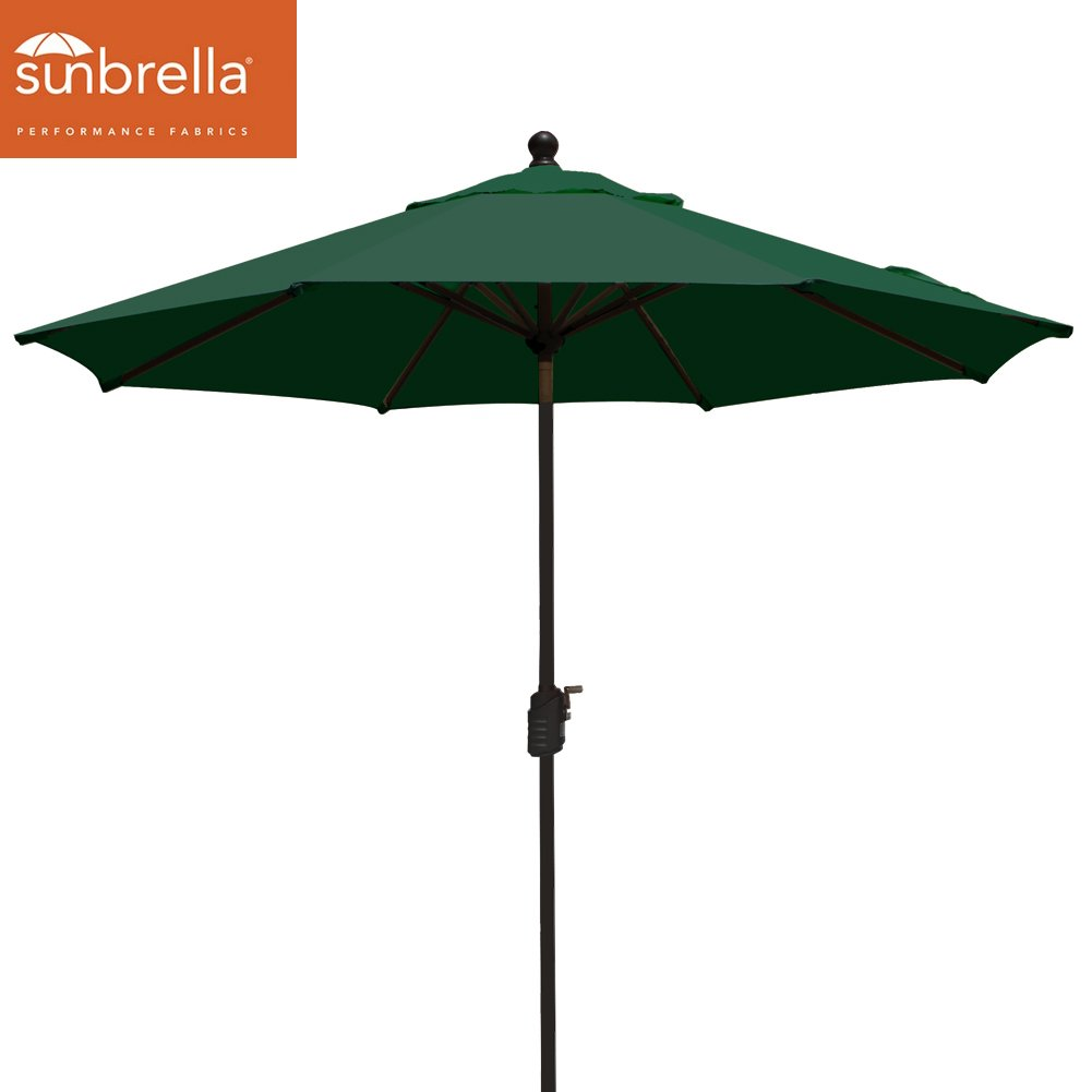 EliteShade Sunbrella 9Ft Market Umbrella Patio Outdoor Table Umbrella with Ventilation (Sunbrella Forest Green)