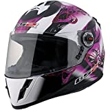 LS2 FF392 Junior Flutter Full Face Street Motorcycle Helmet (Pink/Black/White, Medium)