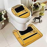 HuaWuhome 2 Piece Toilet mat Set Emergency exit on School Bus 2 Piece Shower Mat Set