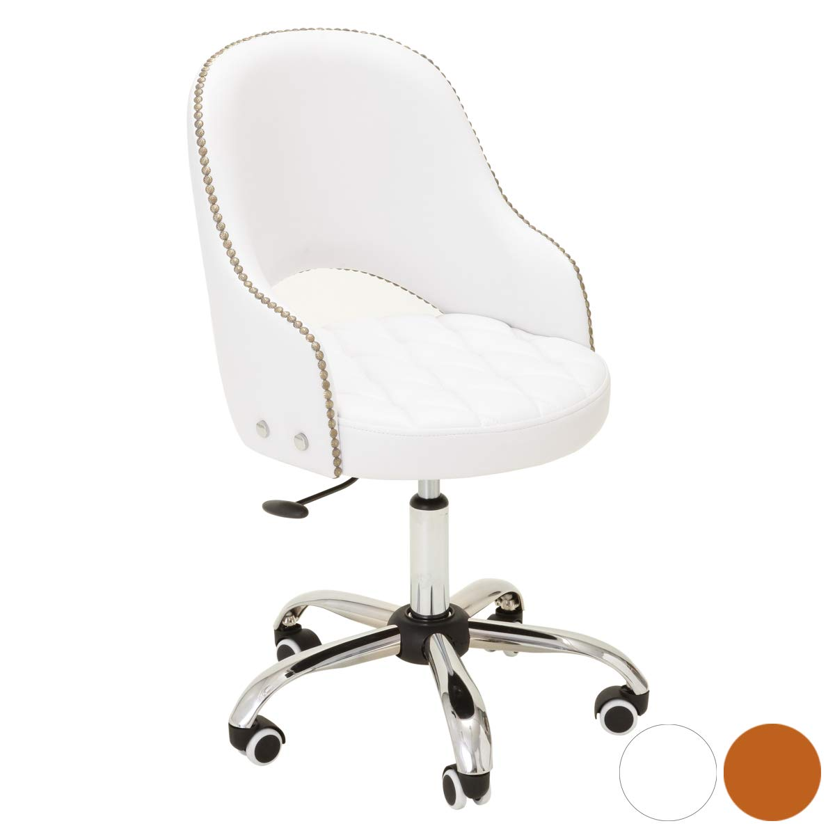 クラシカルチェア 幅47cm×奥行45cm×高さ82cm~92cm ホワイト [ エステスツール ネイルスツール ネイルチェア キャスター付き 背もたれ付き 昇降式 オフィスチェア スツール イス 椅子 チェア アンティーク クラッシック ]  ホワイト B01JRTYX0C