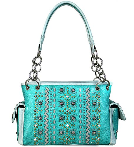 ed Carry Multi Studded Satchel w/Side Pockets(Turquoise) ()