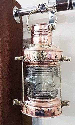 Tanishka Exports Nautical Anchor Oil Lamp Decorative Hanging Lamp Vintage Style Lantern Brass & Copper - Lantern Brass