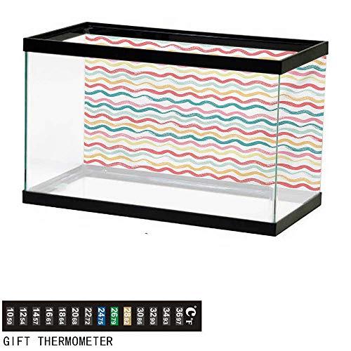 wwwhsl Aquarium Background,Striped,Pop Art Parallel Wavy Rough Lines Flush Brush Strokes Shaggy Groovy Boho Design,Multicolor Fish Tank Backdrop 24