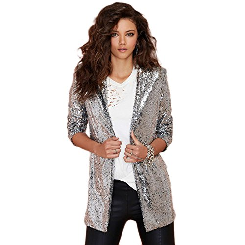 My Wonderful World Women's Sequins Boyfriend Open Front Blazer Large Silver