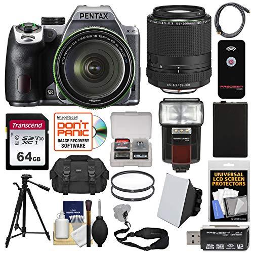 Pentax K-70 All Weather Wi-Fi Digital SLR Camera & 18-135mm WR Lens (Silver) with 55-300mm Lens + 64GB Card + Case + Flash + Battery + Tripod + ()