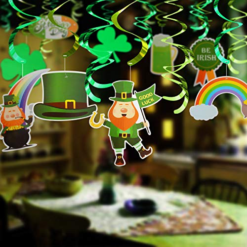 kingleder 30pcs St.Patricks Day Hanging Swirls Ornaments, Pot of Gold Ornaments, Lucky Irish Green Shamrock Ornaments for St Patrick Home Decoration Party Favors Supplies Decor ()