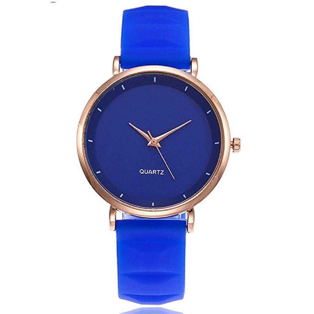 Reloj de Cuarzo para Mujer Estilo Simple Banda de Gel de sílice Nueva Correa Reloj Elegante Relojes analógicos Ocasionales Liquidación (F): Amazon.es: ...