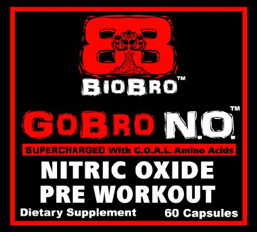 BioBro - GoBro NO Nitric Oxide Pre Workout Supplement Pills Formula with GOAL Amino Acids Combination Complex - Boost Energy Build Muscle Fast - Best Body Building Supplements (60 Capsules)