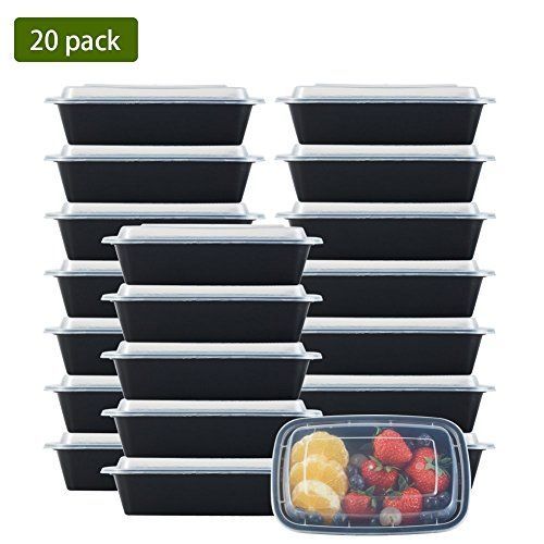 NutriBox [20 Value Pack] single one compartment 20 OZ Meal Prep Plastic Food Storage Containers - BPA Free Reusable Lunch Bento Box - Microwave, Dishwasher and Freezer Safe - For School Work or Trips by NutriBox