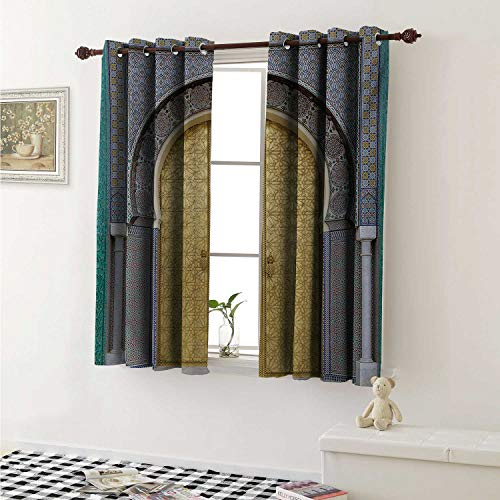 shenglv Moroccan Waterproof Window Curtain Antique Doors Morocco Gold Doorknob Ornamental Carved Intricate Artistic Curtains for Party Decoration W84 x L72 Inch Yellow Teal Blue