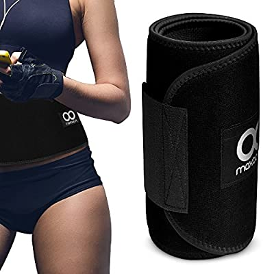 Waist Trimmer, Maxboost Premium Weight Loss Ab Belt for Men & Women [Black] Workout Sweat Enhancer Exercise Adjustable Wrap for Stomach - Enjoy Sweet Abdominal Muscle & Back Support
