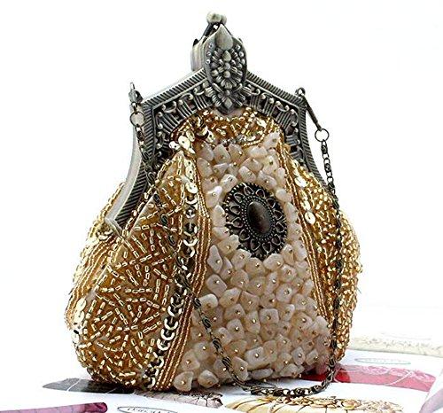 Fête Drops Sac main Graines Soirée Knit de perles Sac de de Big à la Soirée de Mariage Handbag Blanc Ballon main Doré de Conclusion XITqwF4xp4