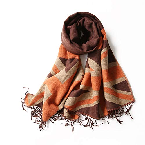 YX XY Scarf - Ladies Autumn and Winter Knit Warm Tassel National Wind Shawl Rice Word Lattice Nepalese Blend Cashmere Scarf Female (2 Color Choice) Scarves (Color : Orange) (Scarf Words)