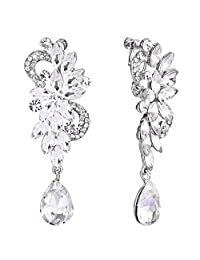 BriLove Women's Bohemian Boho Crystal Flower Wedding Bridal Chandelier Teardrop Bling Screw Back Clip-On Dangle Earrings