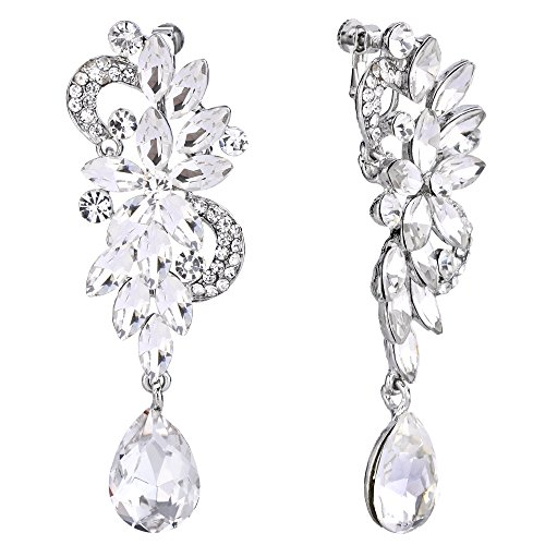 BriLove Women's Bohemian Boho Crystal Flower Wedding Bridal Chandelier Teardrop Bling Long Screw Back Clip-On Dangle Earrings Clear Silver-Tone