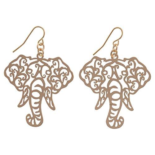 Gold Tone Elephant Head Filigree Fish Hook Earrings