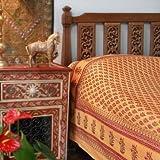 Saffron Marigold - Indian Summer - Orange Paisley Indian Sari Inspired Hand Printed - Cotton Duvet Comforter Cover - (King 108 x 90 inches)