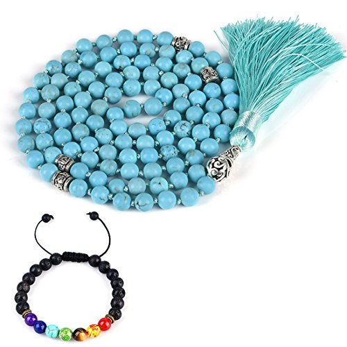 CAT EYE JEWELS 8mm Mala Beads Necklace Yoga Meditation 108 Hand Knotted Turquoise Japa Mala Buddhist Prayer Beads Tassel Necklace Healing Lava Rock Beads Diffuser -