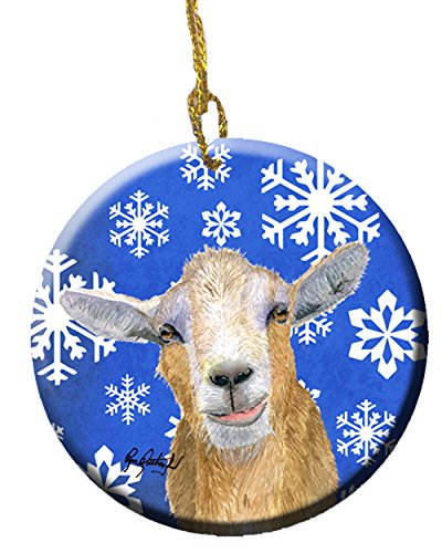 Caroline's Treasures Goat Winter Snowflakes Holiday Ceramic Ornament ()