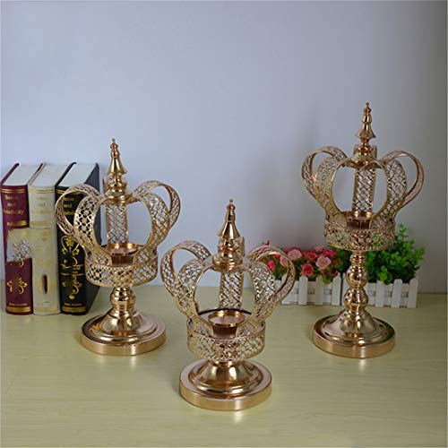 Metal Candle Holder Gold Crown Shape Candelabra Wedding Candle Exquisite Candlestick Table Christmas Decor S