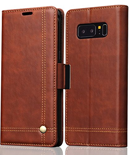 Galaxy Note 8 Case,Note 8 Wallet Case, FLYEE Slim Folio Book Cover PU Leather Magnetic Protective Cover with Credit Card Slots, Cash Pocket, Stand Holder for Samsung Galaxy Note 8 Brown