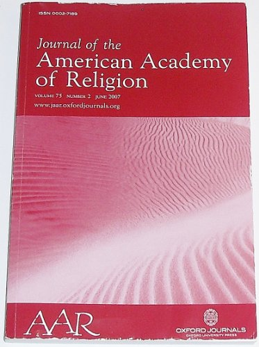 Journal of the American Academy of Religion, Volume 75 Number 2, June 2007