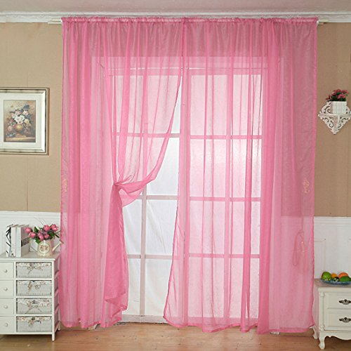 uxcell Sheer Voile Curtains, Net curtains, Slot Top Plain Voile Curtain Panel Net & Organdy Pink – One Panel