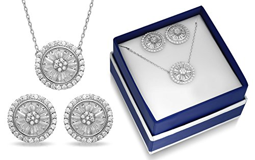 2.55CTW Baguette Round Halo Shape Cubic Zirconia Necklace and Earring Set In a Gift (Baguette Round Jewelry Set)