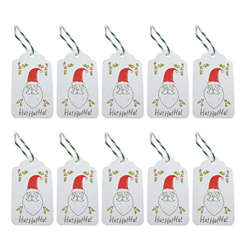 50PCS Christmas Gift Tags Kraft Tags Santa Hang Tags with 10m Cotton Strings for Gift Wrapping and Labeling