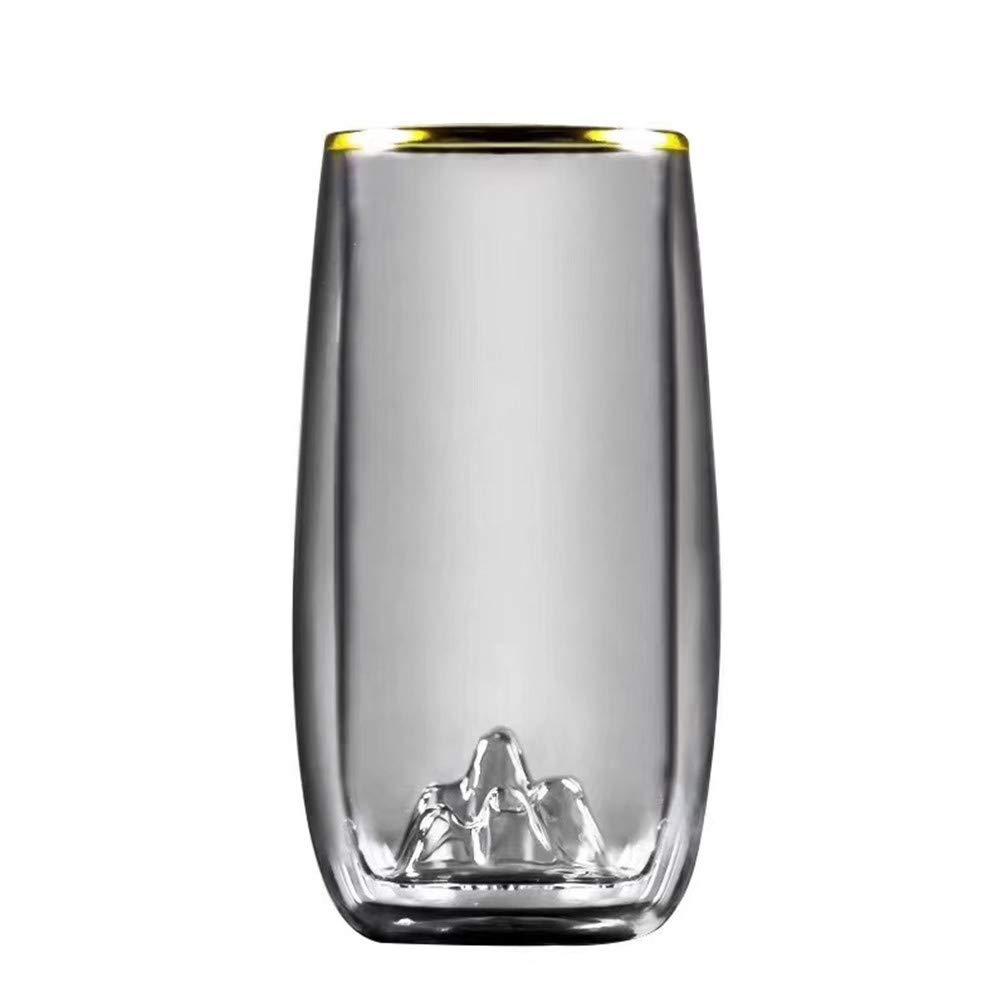 Double-layer Glass Insulation Qingshan Portable Borosilicate Transparent Lead-free Transparent Phnom Penh Heat-resistant Dessert Juice Salad Milk Glass Tea Milkshake Drink Cup Green Cup
