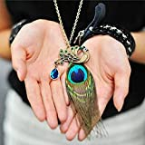 A&C Fashion Bohemia Blue Peacock Feather Pendant Necklace Jewelry for Women, Hot Sell Indiana Feather Torque for Girls.