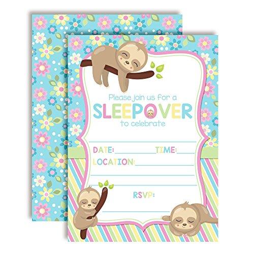 Cozy Sloth Slumber Sleepover Birthday Party Invitations Girl, 20 5