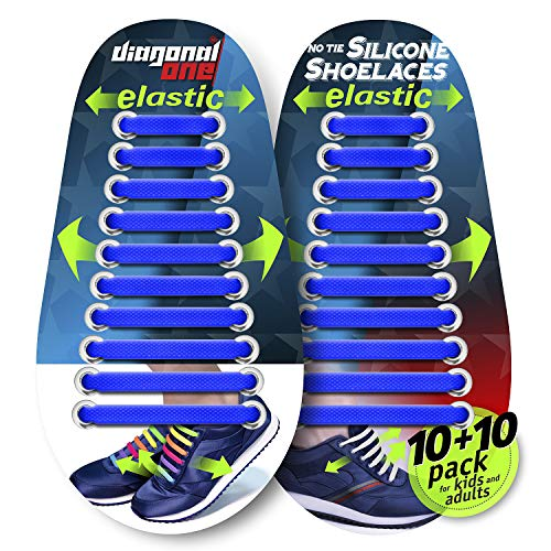 - DIAGONAL ONE No Tie Shoelaces for Kids & Adults. The Elastic Silicone Shoe Laces to Replace Your Shoe Strings. 20 Slip On Tieless Flat Silicon Sneakers Laces (Dark Blue)