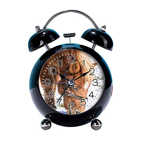 """GIRLSIGHT 4"""" Twin Bell Alarm Clock with Fun Animal Dial, Backlight, Battery Operated Loud Alarm Clock 254.Horse(Black)"""